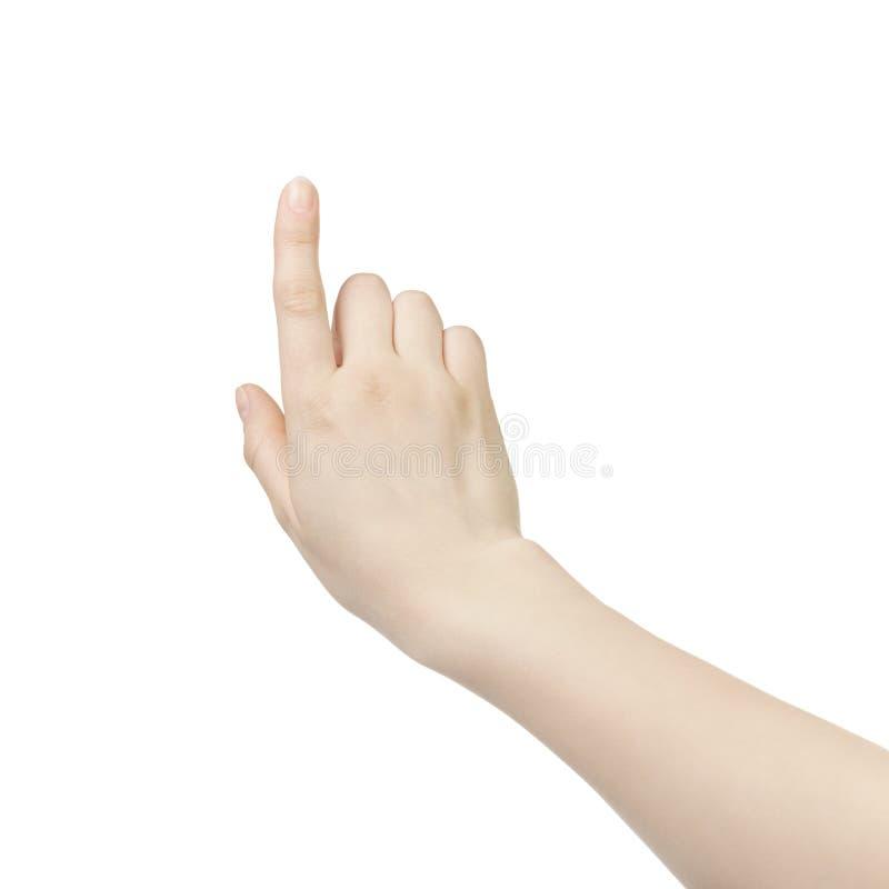 Gesto de la pantalla táctil de la mano de la mujer joven aislado fotos de archivo