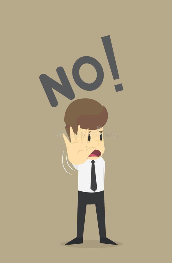 Gesto de la parada de la demostración del hombre de negocios, negación de la basura de la mano, negocio Ca ilustración del vector