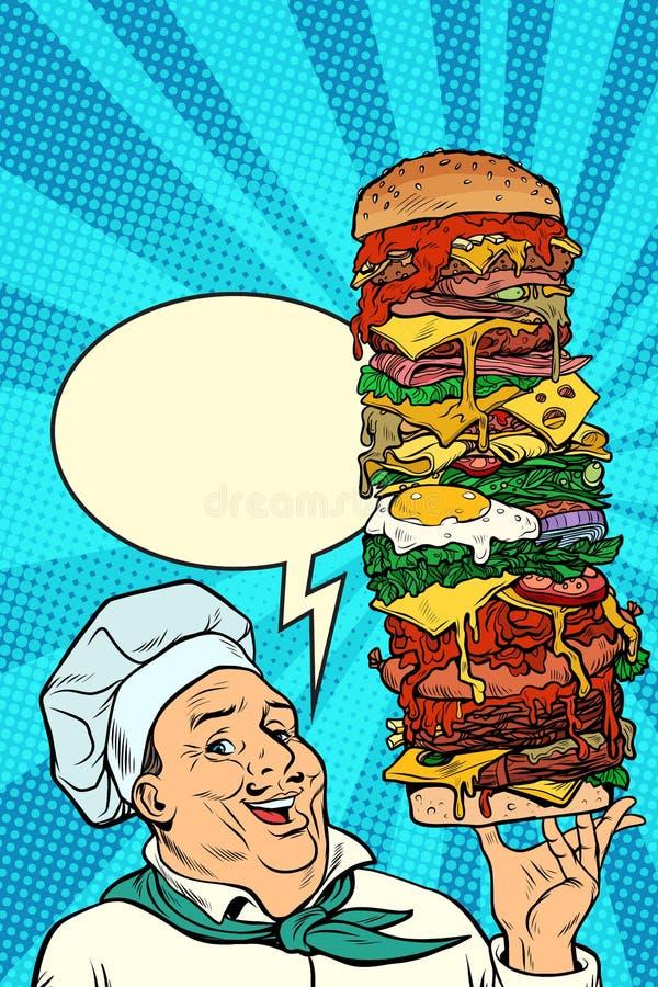 Gesto de la presentación del hombre de Chef del cocinero hamburguesa mega grande stock de ilustración