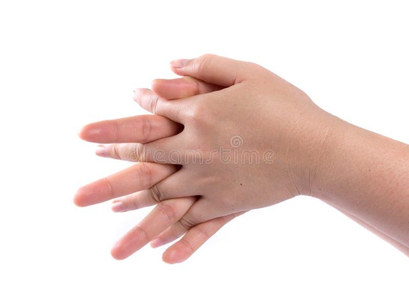 Gesto de lavagem da mão no branco fotos de stock royalty free