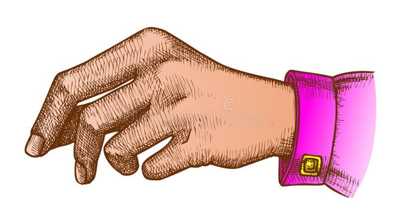 Gesto de mão da menina da cor que guarda Pen Or Pencil Ink Vetora ilustração royalty free