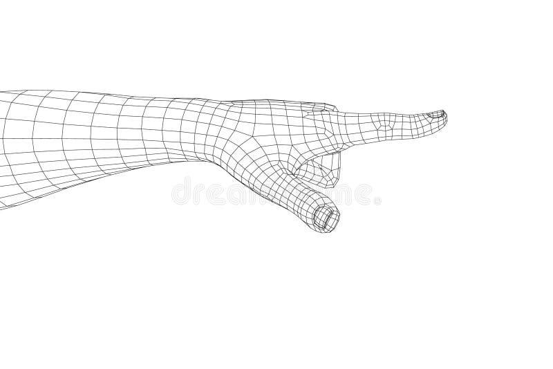 Gesto de mão Dedo que aponta o símbolo Illustrat do wireframe do vetor ilustração royalty free