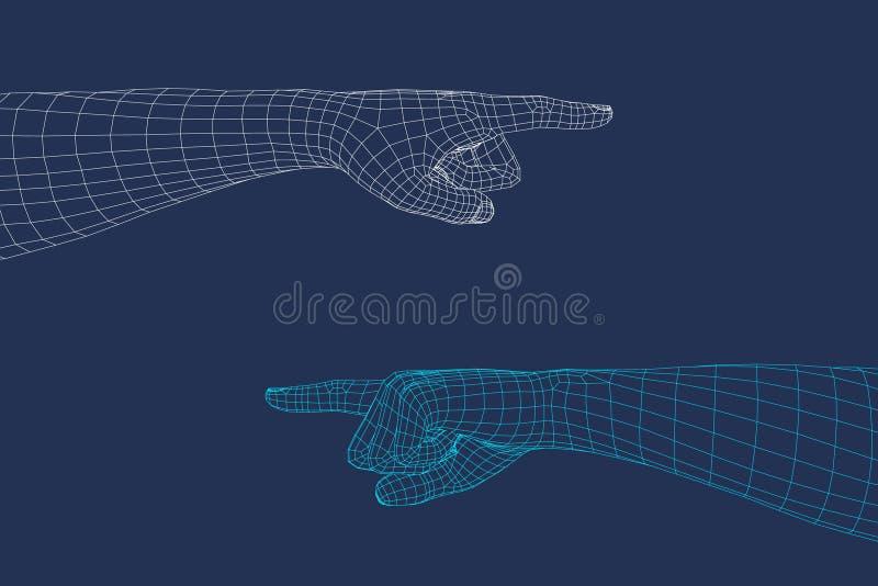 Gesto de mão Dedo que aponta o símbolo Ilustração do wireframe do vetor ilustração stock