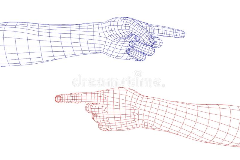 Gesto de mão Dedo que aponta o símbolo Ilustração do wireframe do vetor ilustração royalty free