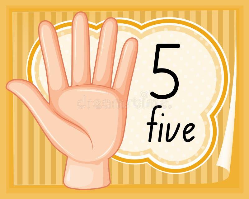 Gesto de mão do número cinco ilustração do vetor
