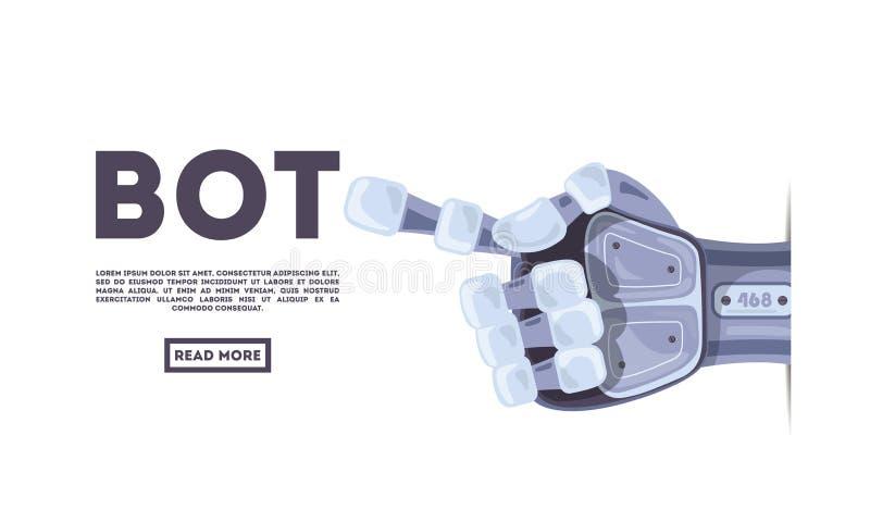Gesto de mão do robô bot Símbolo mecânico da engenharia da máquina da tecnologia Conceito de projeto futurista ilustração royalty free