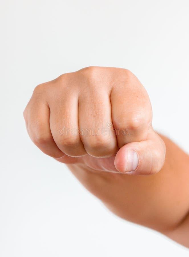 Gesto de mão Equipe o punho apertado, pronto para perfurar, close-up, espaço da cópia imagem de stock
