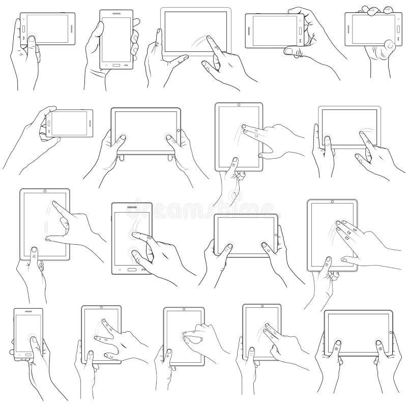 Gesto de mão para o écran sensível ilustração royalty free
