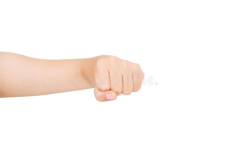 Gesto de mão Punho apertado da mulher, pronto para perfurar, isolado no branco, close-up, espaço da cópia, conceito da atividade, foto de stock royalty free