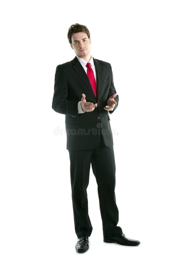 Gesto de mãos cheio da conversa do homem de negócios do terno do comprimento foto de stock royalty free