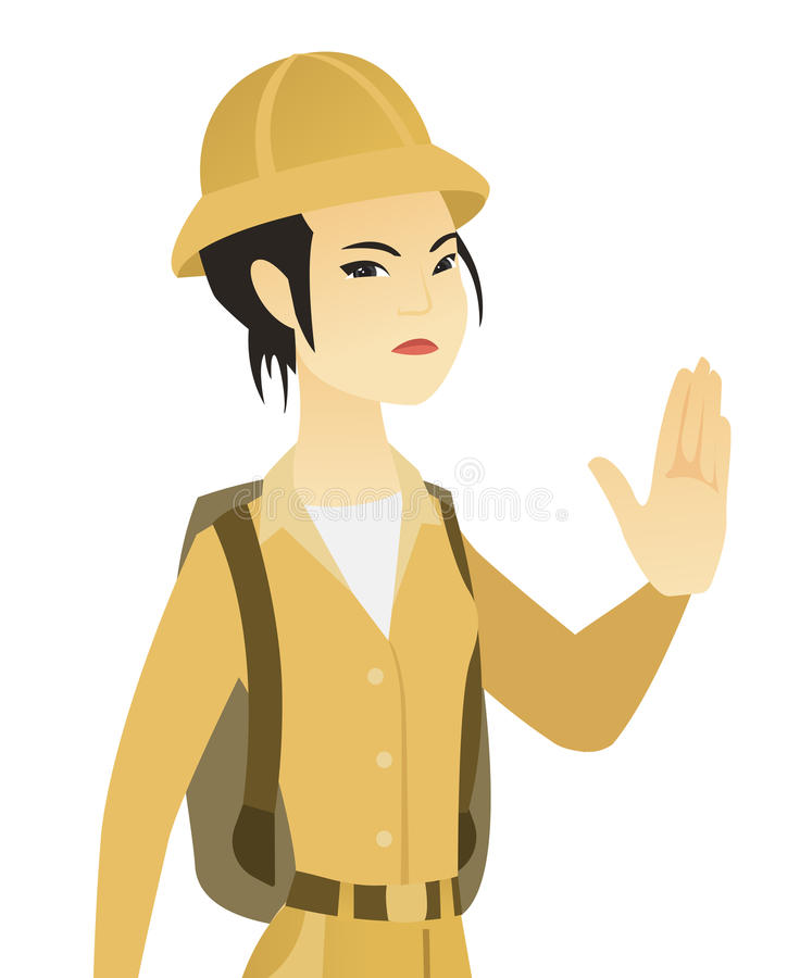 Gesto de mano asiático joven de la parada de la demostración del viajero ilustración del vector