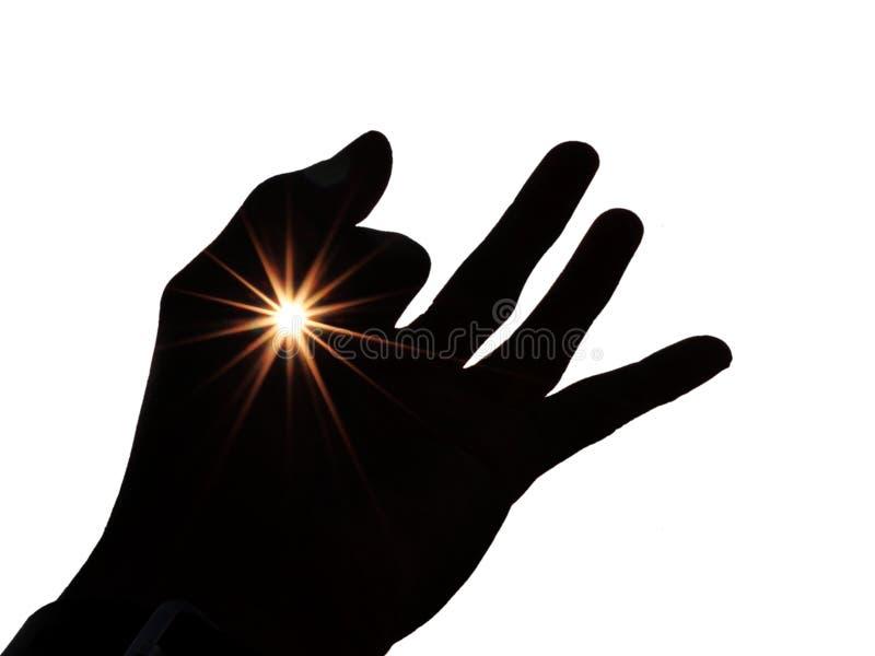 Gesto de mano con los rayos solares aislados en el fondo blanco ilustración del vector