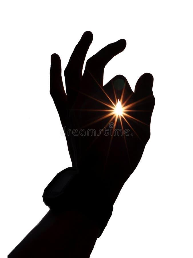 Gesto de mano con los rayos solares aislados en el fondo blanco stock de ilustración