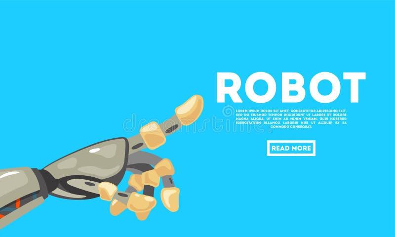 Gesto de mano del robot bot Símbolo mecánico de la ingeniería de la máquina de la tecnología Concepto de diseño futurista ilustración del vector