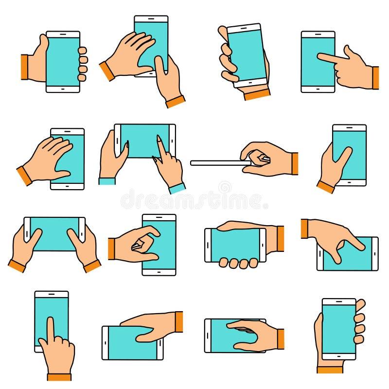 Gesto de mano en la pantalla táctil stock de ilustración