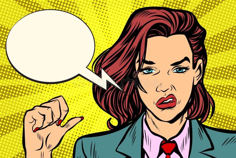 Gesto de mano infeliz de la mujer stock de ilustración