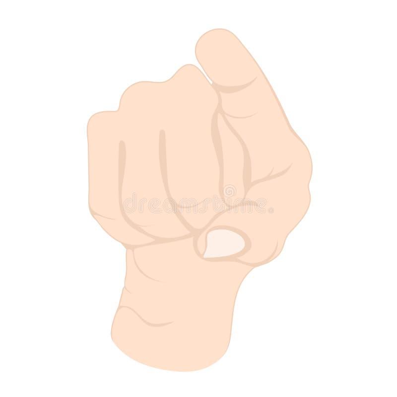Gesto de mano, muñeca con los dedos apuntándote, icono del idioma, logo, emoción de símbolo Dibujo de los dedos plegados aislados stock de ilustración
