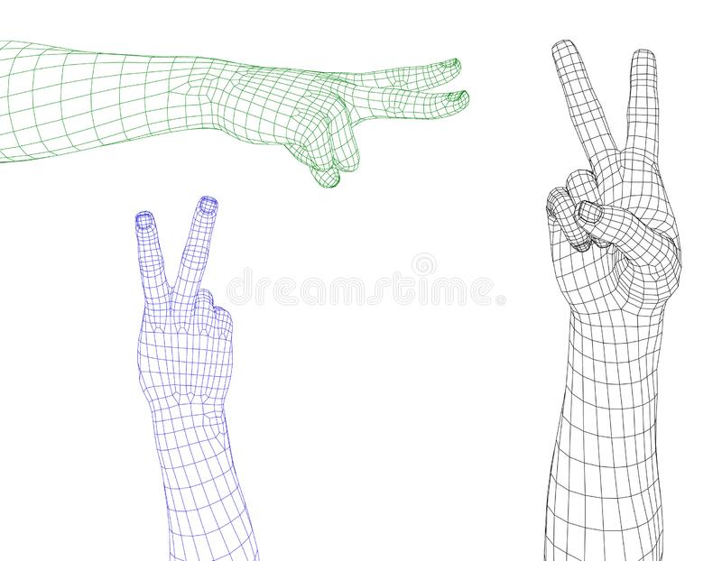 Gesto de mano Muestra de la victoria Aislado en el fondo blanco Vector libre illustration