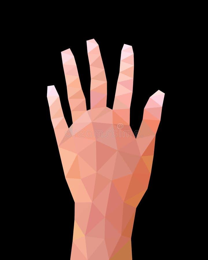 Gesto de mano polivinílico bajo geométrico, muestra de la mano del número cinco, ejemplo triangular abstracto del vector stock de ilustración