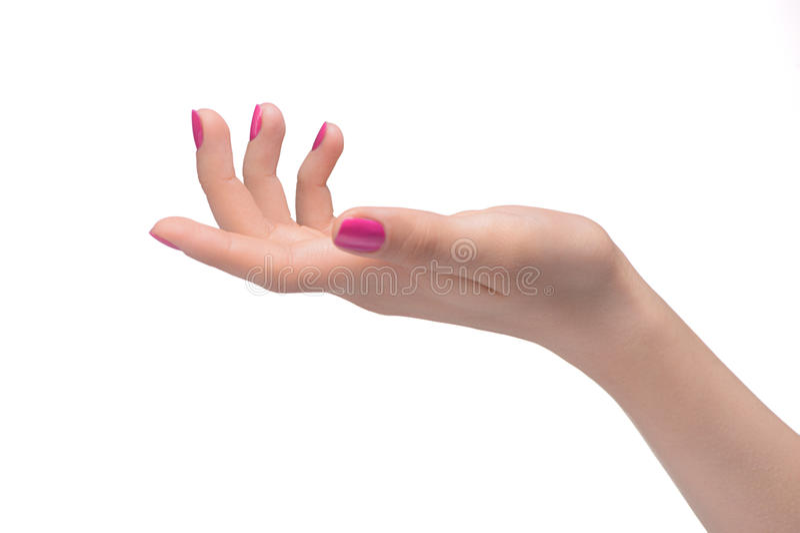 Gesto de mano. Primer de la mano femenina que gesticula mientras que o aislado fotos de archivo libres de regalías