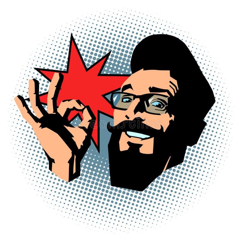 Gesto de sorrir do hipster OK ilustração stock