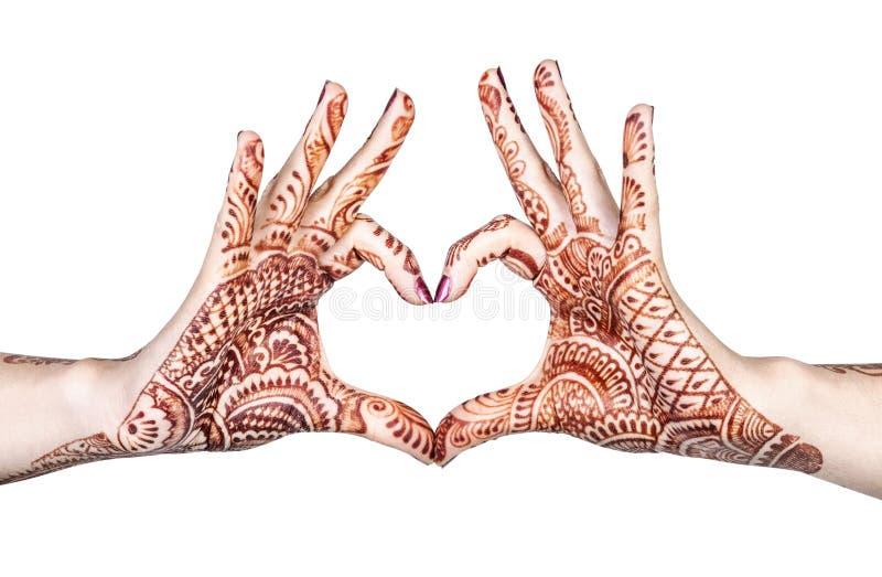 Gesto del cuore con hennè fotografia stock