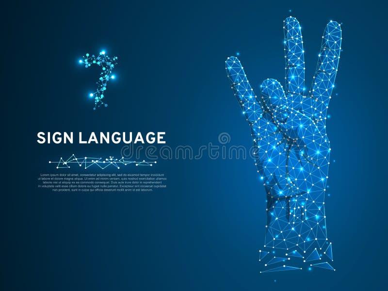 Gesto del número siete del lenguaje de signos, vector silencioso del alfabeto de la comunicación de la gente sorda polivinílica b libre illustration