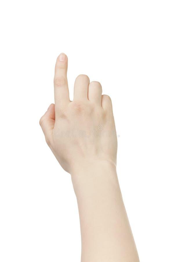 Gesto del touch screen della mano della giovane donna isolato immagini stock