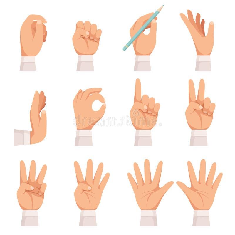 Gesto di mani La palma umana ed il tocco delle dita che mostra indicare e la tenuta della presa della raccolta del fumetto di vet royalty illustrazione gratis