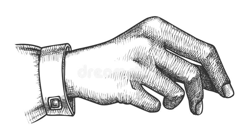 Gesto di mano della ragazza che tiene Pen Or Pencil Ink Vector royalty illustrazione gratis