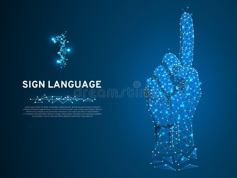 Gesto di numero uno di linguaggio dei segni, modello del minimo poligonale della mano umana poli Comunicazione sorda della gente  illustrazione vettoriale