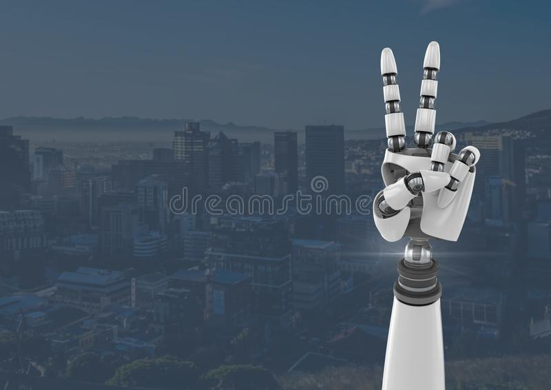 Gesto di pace della mano del robot di Android con il fondo blu della città royalty illustrazione gratis