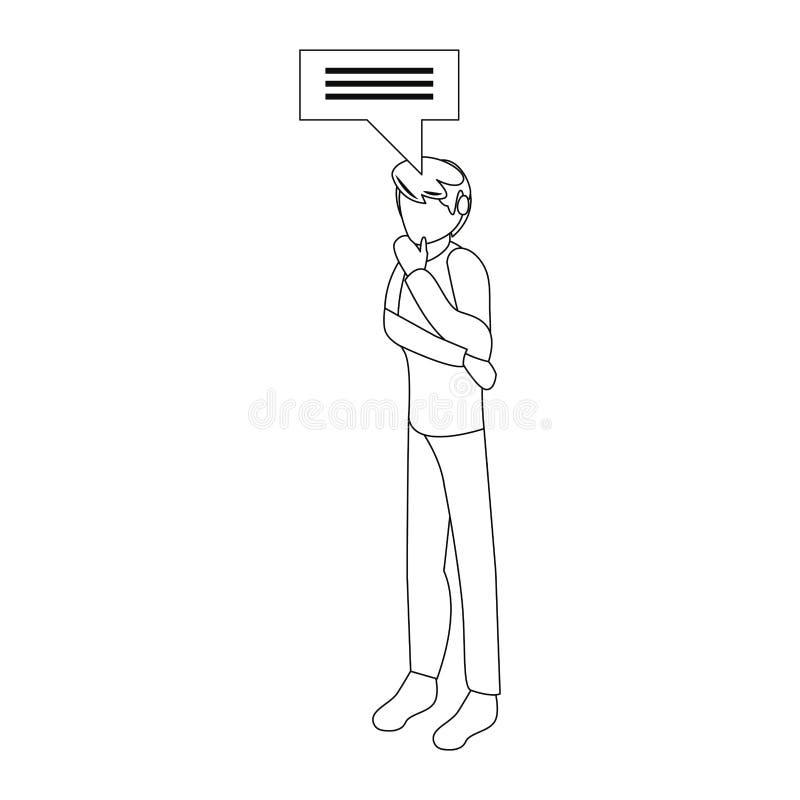 Gesto di pensiero del giovane illustrazione di stock