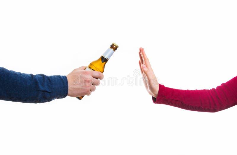 Gesto di rifiuto dell'alcool immagine stock