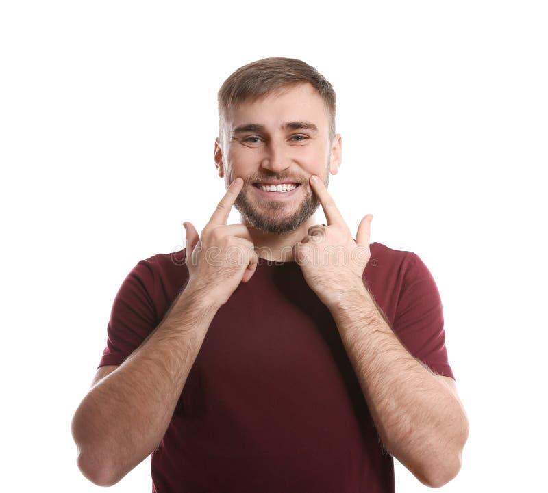Gesto do RISO da exibição do homem na linguagem gestual foto de stock royalty free