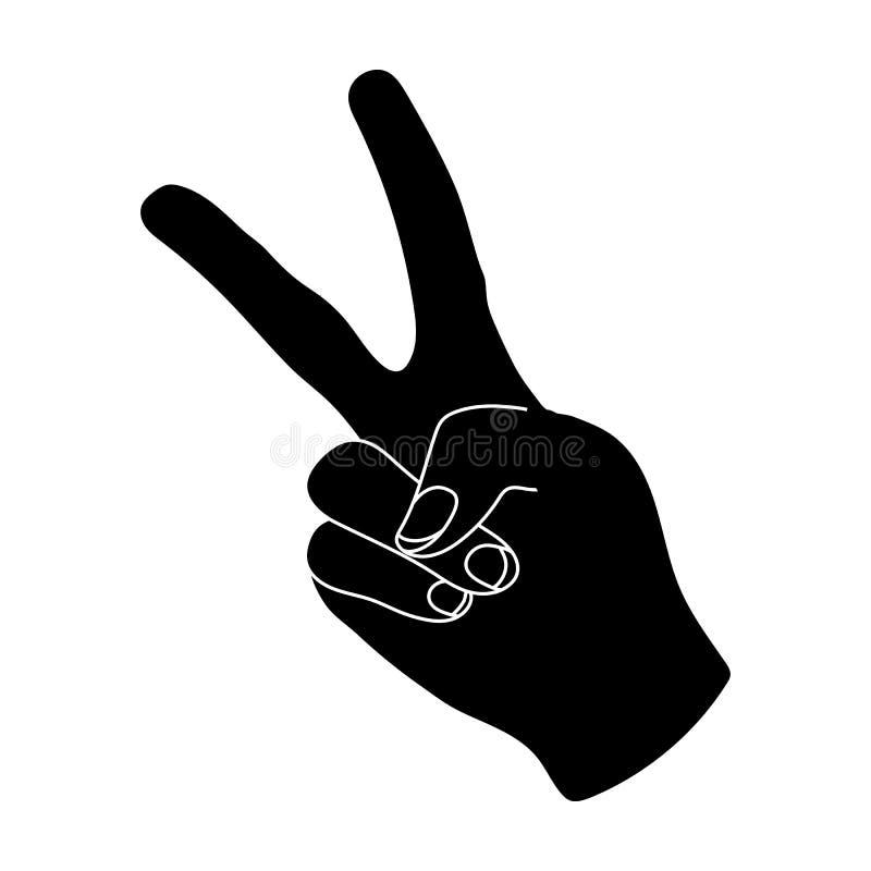 Gesto do símbolo de paz Único ícone do hippy na Web preta da ilustração do estoque do símbolo do vetor do estilo ilustração do vetor