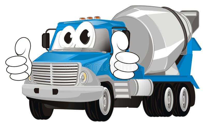 Gesto engraçado da mostra do caminhão do cimento ilustração stock