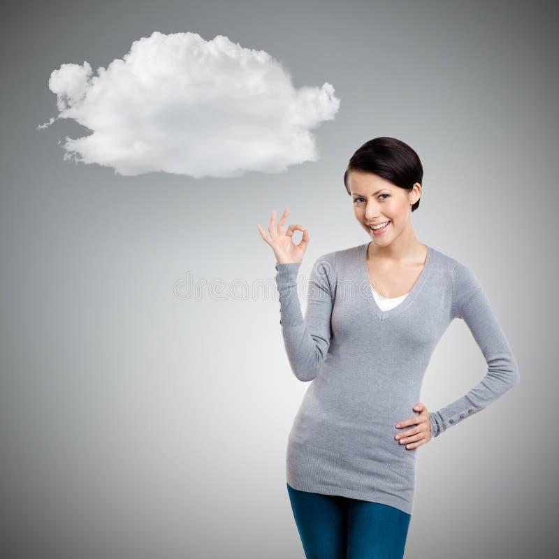 Gesto giusto e nuvola fotografia stock libera da diritti