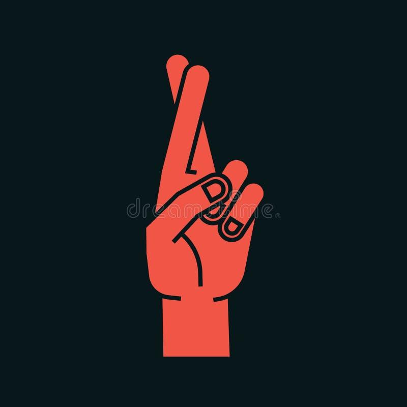 Gesto Muestra afortunada Mano estilizada con dos fingeres cruzados Dedo índice en el frente icono Vector libre illustration