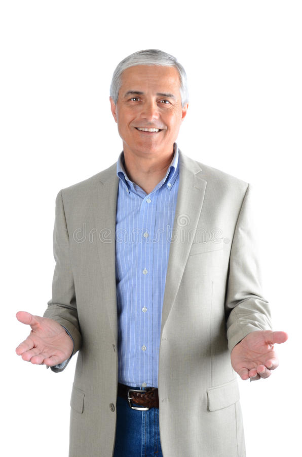 Gesto ocasional do homem de negócios ambas as mãos imagem de stock royalty free