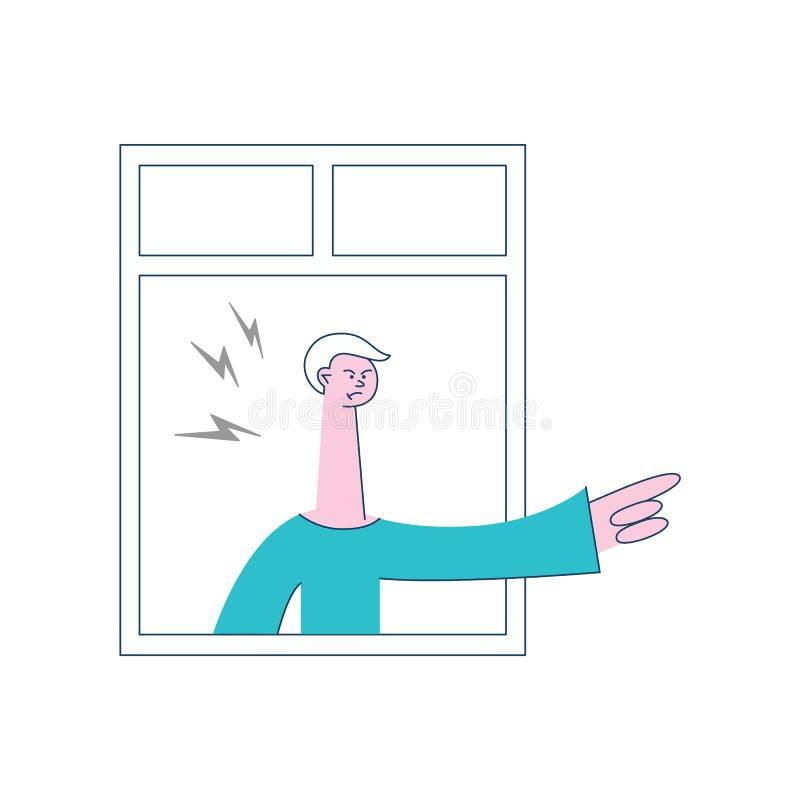 Gesto que amenaza del hombre enojado del vector de la ventana ilustración del vector