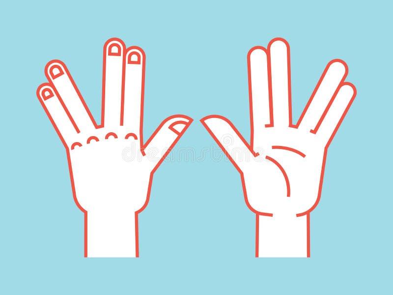 Gesto Sinal de Spock Vulcan cumprimenta Mão estilizado para o jogo da mão do totó ícone ilustração do vetor em um fundo azul ilustração royalty free