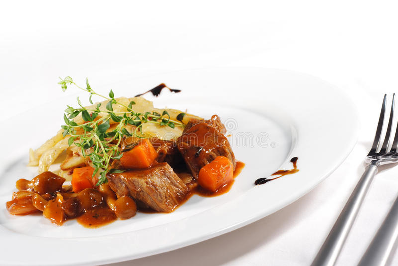 Gestoofd Rundvlees met Aardappel stock foto's
