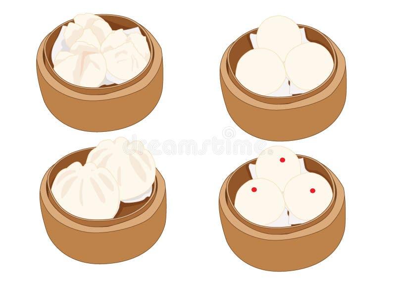 Gestoomd materiaalbroodje, dim sum in bamboestoomboot en Chinese keuken op witte achtergrond vector illustratie