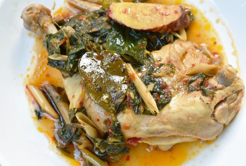 Gestoomde kruidige kippendij en been met kruid en Spaanse peper op palte royalty-vrije stock afbeeldingen