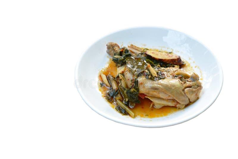 Gestoomde kruidige kippendij en been met kruid en Spaanse peper op palte stock fotografie