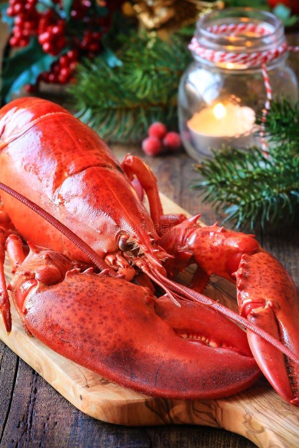 Gestoomde zeekreeft voor Kerstmis royalty-vrije stock foto