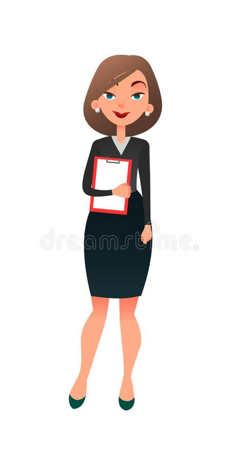 Gestor de escritório fêmea bem sucedido novo Caráter liso do secretário da mulher dos desenhos animados espertos no escritório Se ilustração stock