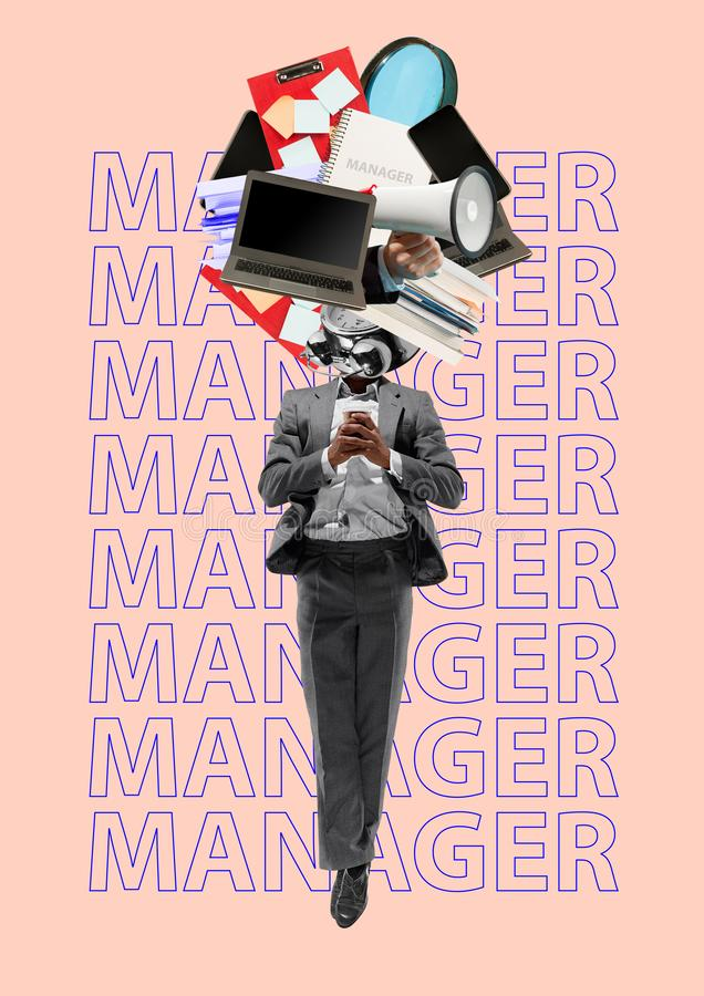 Gestore Disegno moderno Collage di arte contemporanea fotografia stock libera da diritti