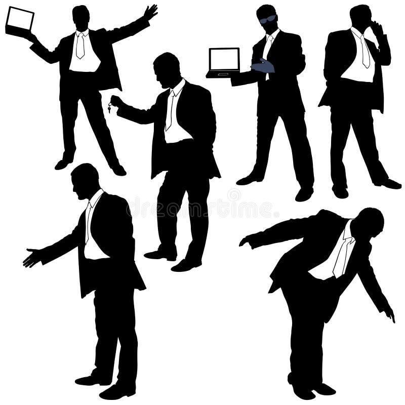 Gestore nel lavoro - siluette illustrazione di stock